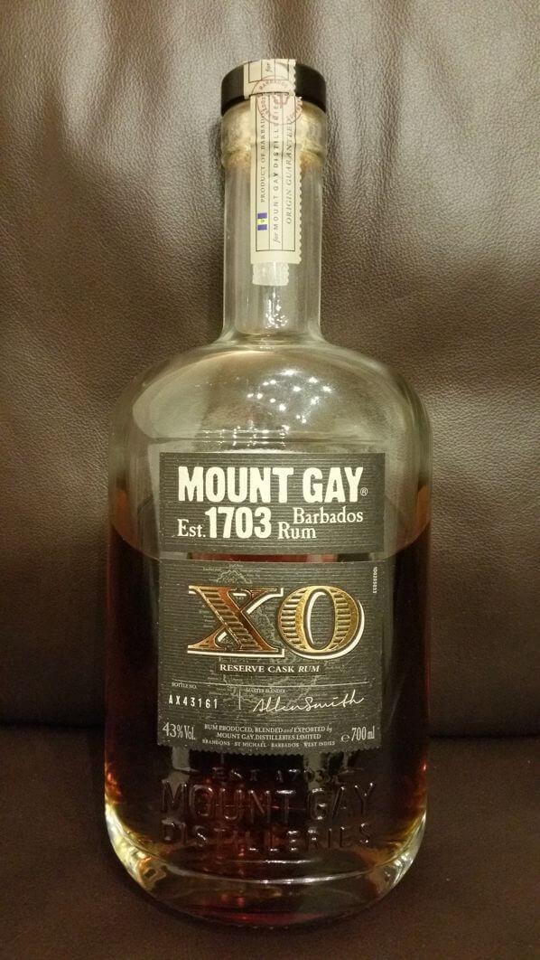 Mount Gay XO Rum Vorderseite der Flasche