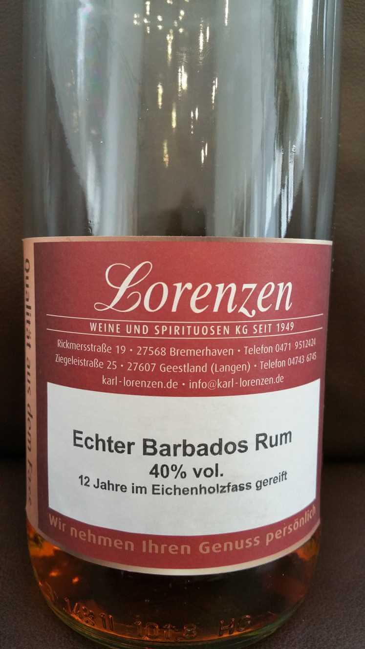 Lorenzen Echter Barbados Rum front nah