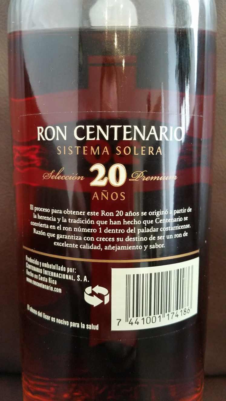 Ron Centenario 20 back nah