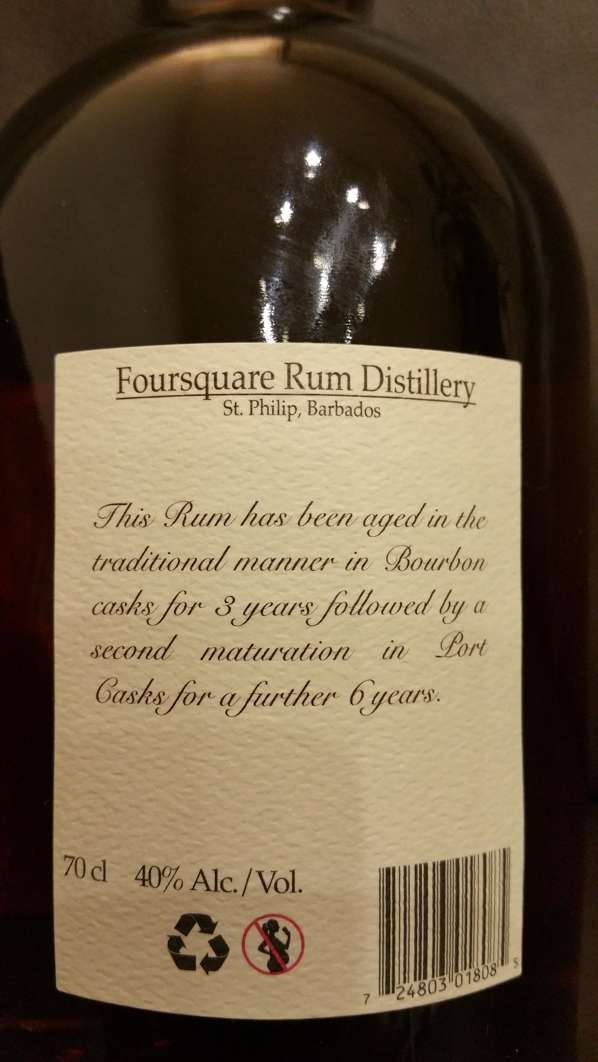 Foursquare Port Cask Finish Rum Etikett back