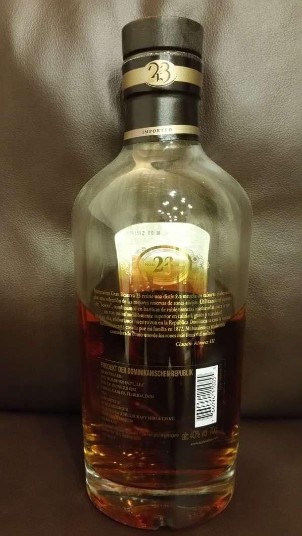Ron Matusalem Gran Reserva 23 Rum back