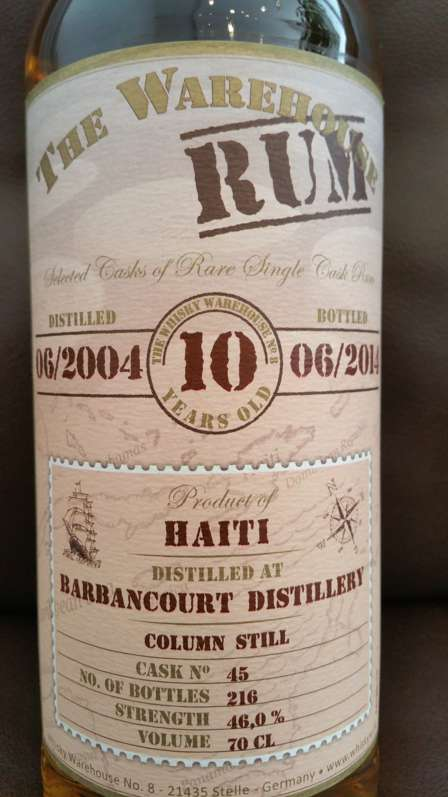 The Warehouse Rum Barbancourt 2004 10YO front nah