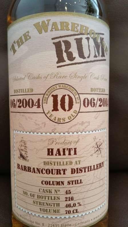 The Warehouse Rum Barbancourt 2004 10YO front nah