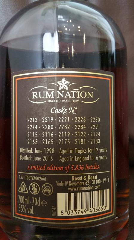 Rum Nation Caroni 18 YO Etikett back