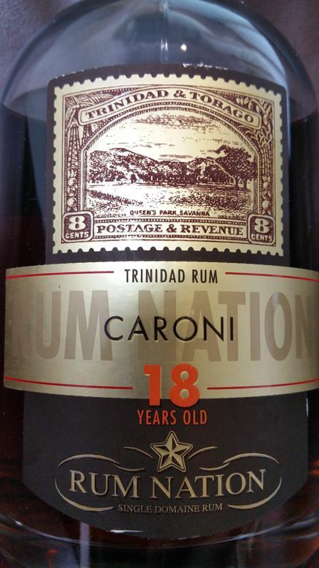 Rum Nation Caroni 18 YO Etikett front