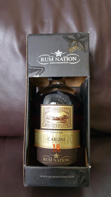 Rum Nation Caroni 18 YO front + Packung