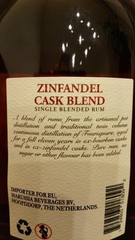 Foursquare Zinfandel Cask Blend Etikett back