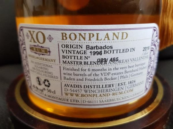 Bonpland Rum Barbados 20 Jahre Label back