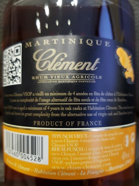 Clément Rhum Vieux Agricole V.S.O.P back nah