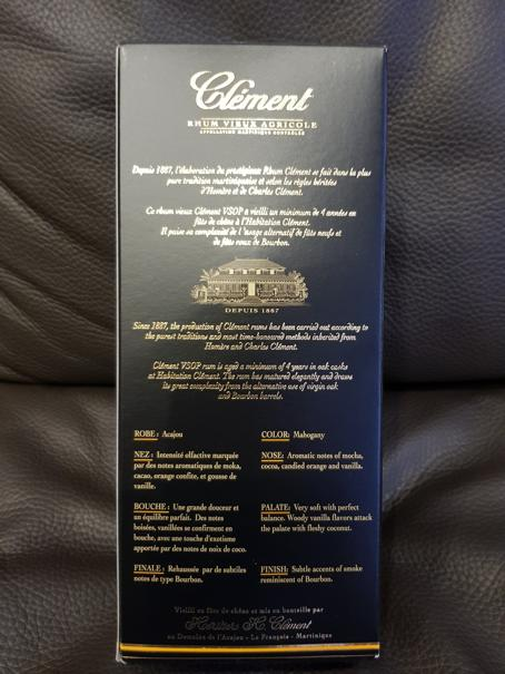 Clément Rhum Vieux Agricole V.S.O.P packung back full