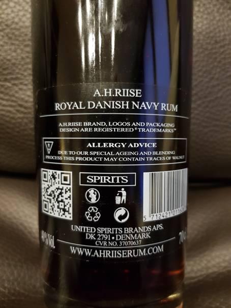 A.H. Riise Royal Danish Navy Rum back nah
