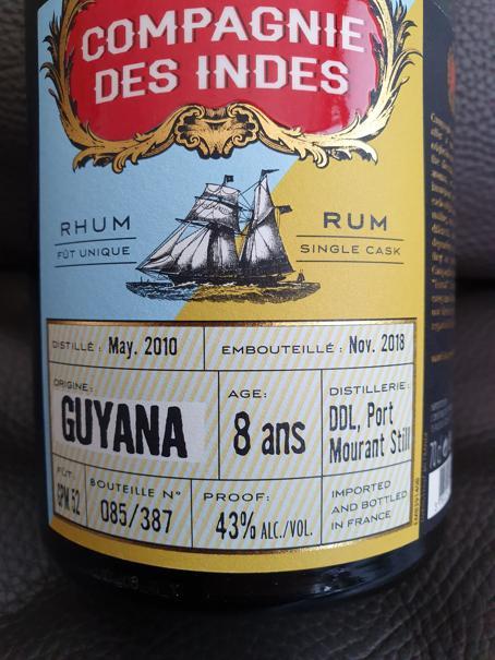 Compagnie des Indes Guyana 8 Jahre label