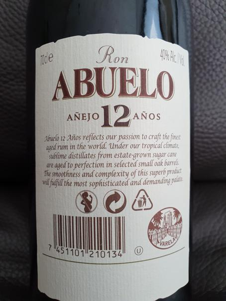 Abuelo Rum 12 Jahre back nah